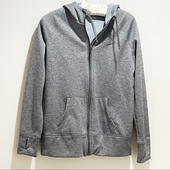NIKE THERMA FIT ALL TIME HOODIE Gray Full Zip